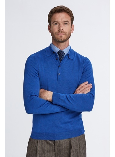 Hemington Polo Yaka Mavi Merino Yün Triko Mavi